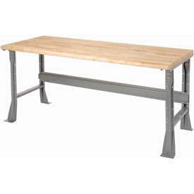 "72""W X 36""D X 34""H Ash Butcher Block Safety Edge Workbench - Gray"