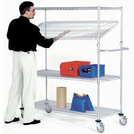 Nexel® E-Z Adjust Wire Shelf Truck 36x24x69 1200 Pound Capacity with Brakes