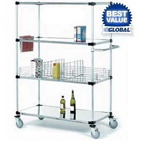 Nexel® Stainless Steel Shelf Truck 48x24x69 1200 Lb. Capacity with Brakes