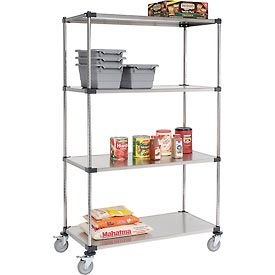 Nexel® Stainless Steel Shelf Truck 48x24x80 1200 Lb. Capacity with Brakes