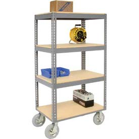 Easy Adjust Boltless 4 Shelf Truck 36 x 24 with Wood Shelves - Pneumatic Casters
