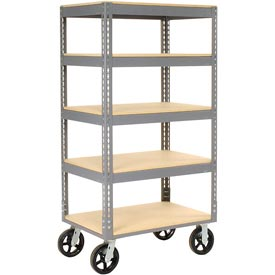 Easy Adjust Boltless 5 Shelf Truck 36 x 24 with Wood Shelves - Rubber Casters