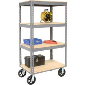 Easy Adjust Boltless 4 Shelf Truck 48 x 24 with Wood Shelves - Rubber Casters