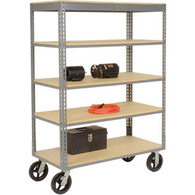 Easy Adjust Boltless 5 Shelf Truck 48 x 24 with Wood Shelves - Rubber Casters