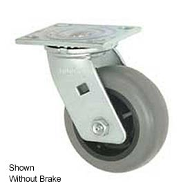 "Faultless Swivel Plate Caster 493-3-1/2RB 3-1/2"" TPR Wheel with Brake"