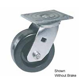 "Faultless Swivel Plate Caster 460S-4RB 4"" Polyolefin Wheel with Brake"