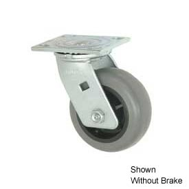 "Faultless Swivel Plate Caster 493-4RB 4"" TPR Wheel with Brake"