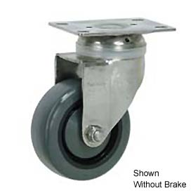 "Faultless Stainless Steel Swivel Plate Caster S896-5TB 5"" Polyurethane Wheel with Brake"