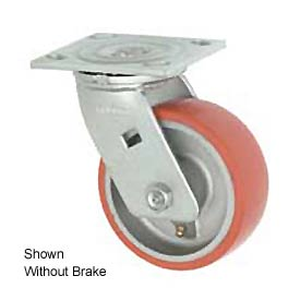 "Faultless Swivel Plate Caster 1438-5RB 5"" Mold-On Poly Wheel with Brake"