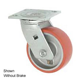 "Faultless Swivel Plate Caster 1438-8RB 8"" Mold-On Poly Wheel with Brake"