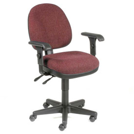 Multifunction Task Chair with Arms - Fabric - Burgundy