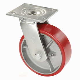 "Heavy Duty Swivel Plate Caster 5"" Polyurethane Wheel 500 Lb. Capacity"