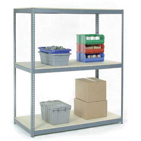 "Wide Span Rack 60""W x 48""D x 84""H With 3 Shelves Wood Deck 1200 Lb Capacity Per Level"