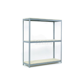 "Wide Span Rack 60""W x 24""D x 96""H With 3 Shelves Wood Deck 1200 Lb Capacity Per Level"