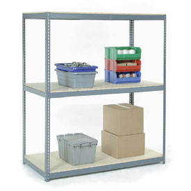 "Wide Span Rack 60""W x 48""D x 96""H With 3 Shelves Wood Deck 1200 Lb Capacity Per Level"