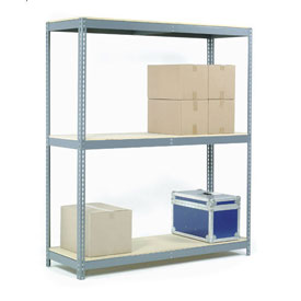 "Wide Span Rack 72""W x 30""D x 60""H With 3 Shelves Wood Deck 900 Lb Capacity Per Level"