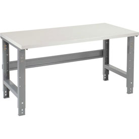 "72""W X 30""D Plastic Laminate Square Edge Workbench - Adjustable Height - 1-5/8"" Top - Gray"