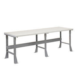"96""W X 30""D X 34""H Plastic Laminate Square Edge Workbench - Gray"