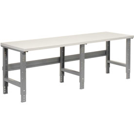 "96""W X 30""D Plastic Laminate Square Edge Workbench - Adjustable Height - 1-5/8"" Top - Gray"