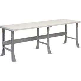 "96""W X 36""D X 34""H Plastic Laminate Square Edge Workbench - Gray"