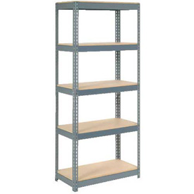 """Extra Heavy Duty Shelving 36""""W x 24""""D x 84""""H With 5 Shelves, Wood Deck"""