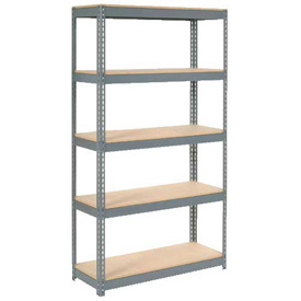"Extra Heavy Duty Shelving 48""W x 24""D x 84""H With 5 Shelves, Wood Deck"