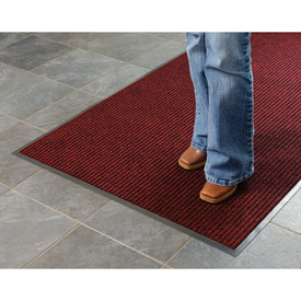 Deep Cleaning Ribbed 3 Foot Wide Cut Length Entrance Mat Red