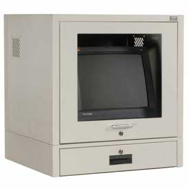Counter Top CRT Security Computer Cabinet - Gray