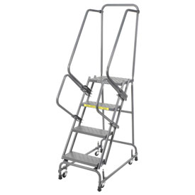 "Perforated 16""W 4 Step Steel Rolling Ladder 14""D Top Step"