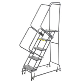 "Perforated 24""W 5 Step Steel Rolling Ladder 14""D Top Step"