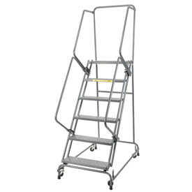 "Perforated 24""W 6 Step Steel Rolling Ladder 14""D Top Step- Lock Style A"