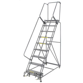 "Perforated 24""W 9 Step Steel Rolling Ladder 14""D Top Step"