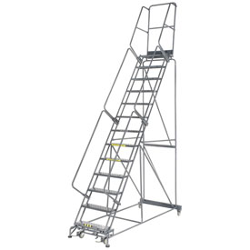"Perforated 24""W 13 Step Steel Rolling Ladder 14""D Top Step"