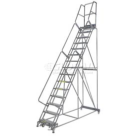 "Perforated 24""W 15 Step Steel Rolling Ladder 14""D Top Step"