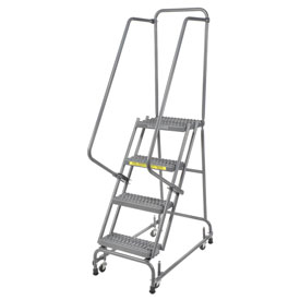 "Grip 16""W 4 Step Steel Rolling Ladder 14""D Top Step"