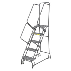"Grip 24""W 5 Step Steel Rolling Ladder 14""D Top Step"