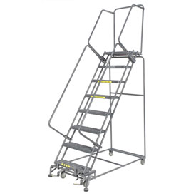 "Grip 24""W 8 Step Steel Rolling Ladder 14""D Top Step"