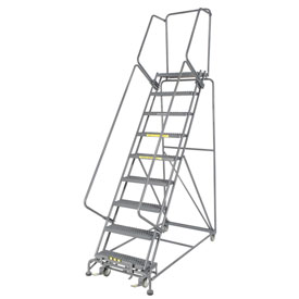 "Grip 24""W 9 Step Steel Rolling Ladder 14""D Top Step"