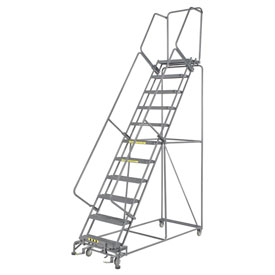 "Grip 24""W 11 Step Steel Rolling Ladder 14""D Top Step"