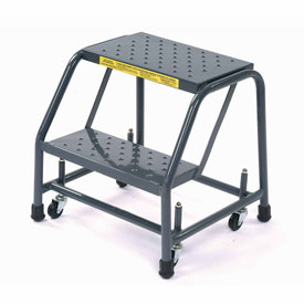 """Perforated 16""""W 2 Step Steel Rolling Ladder 20""""D Top Step"""