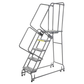 "Perforated 16""W 5 Step Steel Rolling Ladder 21""D Top Step"