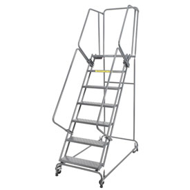 "Perforated 24""W 7 Step Steel Rolling Ladder 21""D Top Step- Lock Type A"