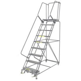 "Perforated 24""W 9 Step Steel Rolling Ladder 21""D Top Step"