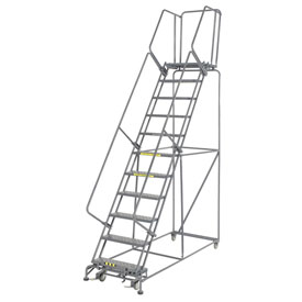 "Perforated 24""W 11 Step Steel Rolling Ladder 21""D Top Step"