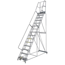 "Perforated 24""W 15 Step Steel Rolling Ladder 21""D Top Step"