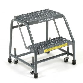 "Grip 16""W 2 Step Steel Rolling Ladder 20""D Top Step"