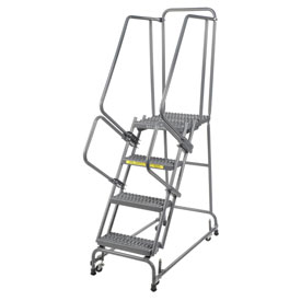 "Grip 16""W 4 Step Steel Rolling Ladder 21""D Top Step"