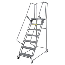 "Grip 16""W 7 Step Steel Rolling Ladder 21""D Top Step"