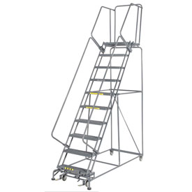 "Grip 24""W 10 Step Steel Rolling Ladder 21""D Top Step"