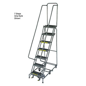 "12 Step 24"" W Perforated All Directional Steel Rolling Ladder- Safety Angle"